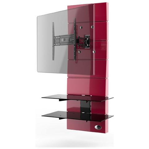 """MELICONI Mobile TV Ghost Design 3000 Rotation per Schermi LED / LCD / Plasma 32-63"""" Portata Max 30 kg Colore Rosso"""
