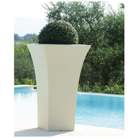 Vaso Patio Bianco Quadrato Resina 48x48xh85cm Arredo Esterno Design Giardino