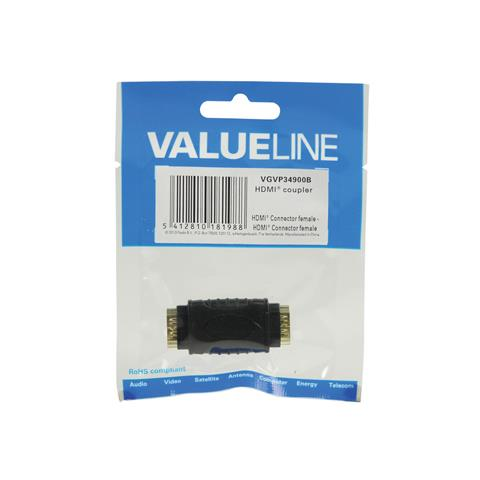 VALUELINE VGVP34900B, HDMI, HDMI, Femmina / femmina, Nero, Sacchetto di politene