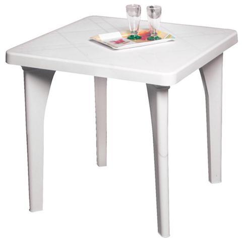 Tavolo in resina bianco per esterno arredo giardino 80x80x73