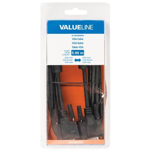 VALUELINE VLCB59000B50, VGA (D-Sub) , VGA (D-Sub) , Maschio, Maschio, Nero, Cloruro di polivinile (PVC)