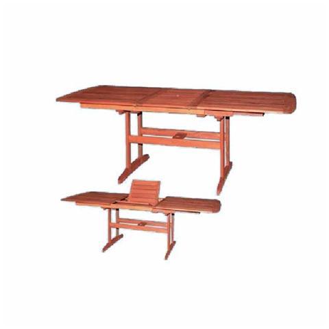 Tavolo da giardino rettangolare in legno massello estensibile 155x107x73 cm