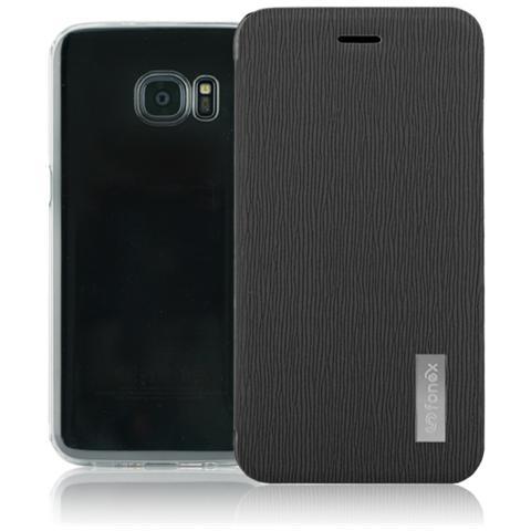 FONEX Crystal Slim Custodia a Libro con Back Trasparente per Galaxy S7 Edge Colore Nero