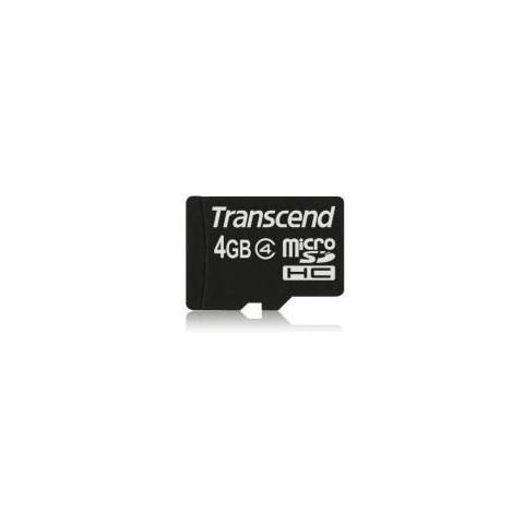 TRANSCEND Scheda di Memoria Micro SDHC da 4 GB Senza Adattatori Nero TS4GUSDC4