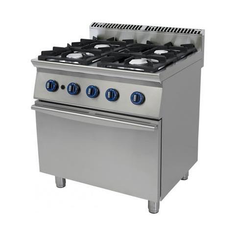 Cucina A Gas 4 Fuochi Su Forno A Gas A Convezione. 80x90x90h.