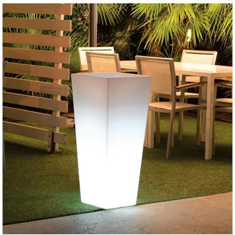 Vaso Quadro Hydrus Bianco Perla 39xh85cm Resina Arredo Esterno Design Giardino