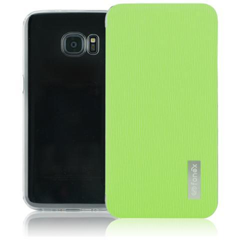 FONEX Crystal Slim Custodia a Libro con Back Trasparente per Galaxy S7 Edge Colore Verde
