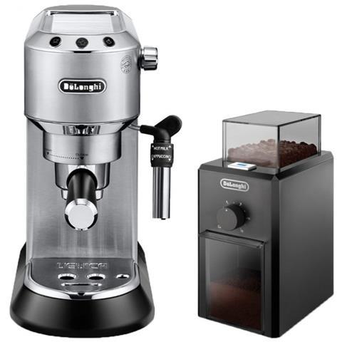 Macchina da Caffè Espresso Manuale Dedica Style Potenza 1300 Watt Colore Inox + Macinacaffè KG79 Potenza 110 W