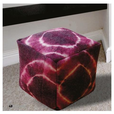 Stones Pouf Fatto A Mano Mod. Bean Bag Stool 024 di Colore Viola E Bianco In Cotone