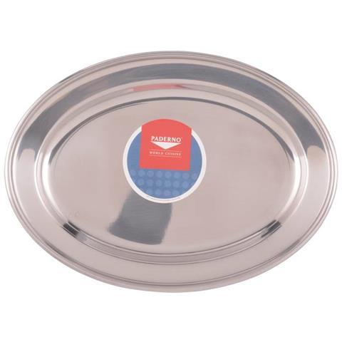 Vassoio Ovale Con Bordo Cm 50 Inox