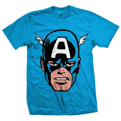 ROCK OFF Marvel Comics - Cap America Big Head Blu (T-Shirt Unisex Tg. S)