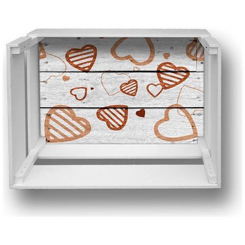 Lupia Mensola Decorativa Da Parete Design Moderno Shelf Box 30x40cm H. 20 Brown Hearts