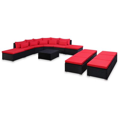 Set Divani Da Giardino 9 Pz Con Cuscini In Polyrattan Rosso