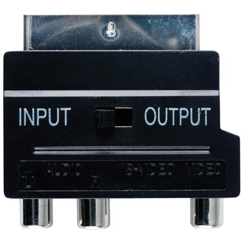 BANDRIDGE SCART Audio Video Adapter SCART Maschio 3x maschio Phono + Switch Nero cavo di interfaccia e adattatore