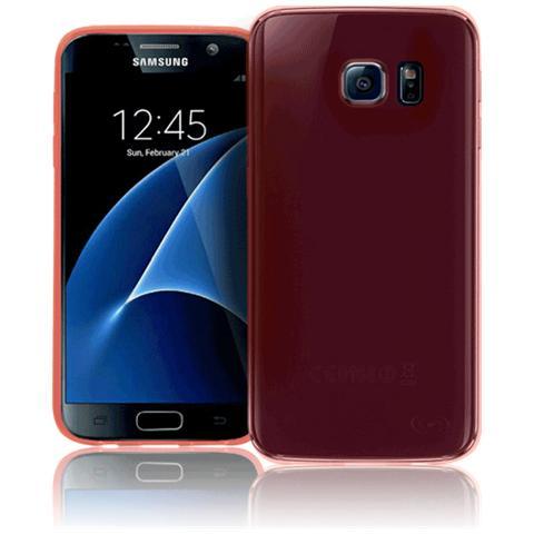 FONEX Inv Cover Ultra Sottile 0,2 mm in Morbido TPU per Galaxy S7 Edge Colore Rosso Trasparente