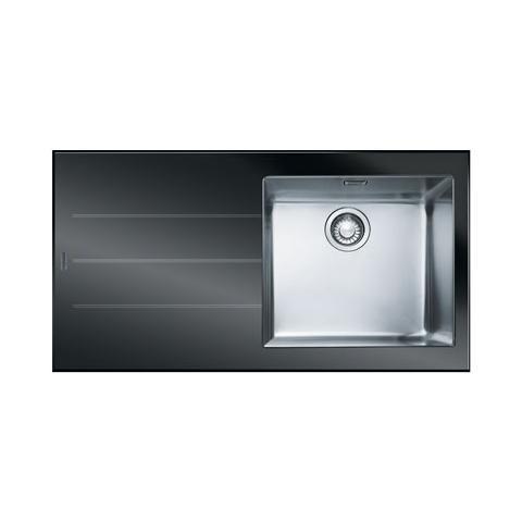 Image of Crystal Lavello da Incasso 1 Vasca con Gocciolatoio Dimensioni 100 x 51 cm Colore Nero