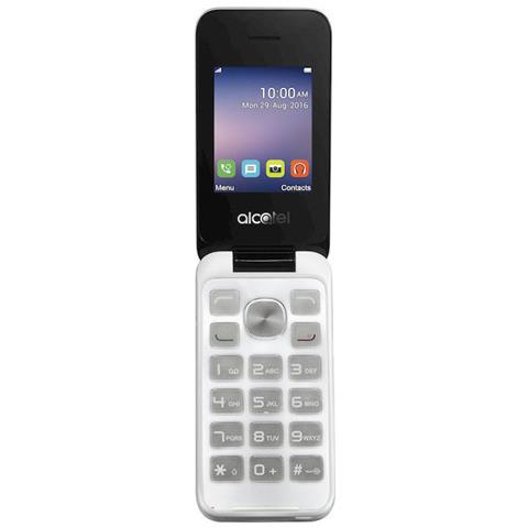 """ALCATEL 2051X Bianco e Nero Display 2.4"""" +Slot MicroSD Bluetooth con Tasti Grandi Fotocamera 2Mpx - Tim Italia"""