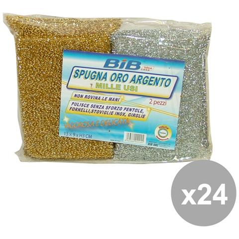 Bib Set 24 Spugna Cucina Oro-argento 2 Pezzi Attrezzi Pulizie