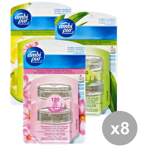 Ambi-Pur Set 8 Set&refresh Ricarica Misto Deodorante Candele E Profumato