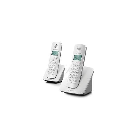 MOTOROLA Telefono cordless DECT duo (include Motorola C401 + un ricevitore supplementare) con rubrica con 50 voci.