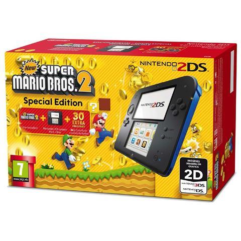 Image of Console 2DS Nero / Blu + Gioco New Super Mario Bros 2