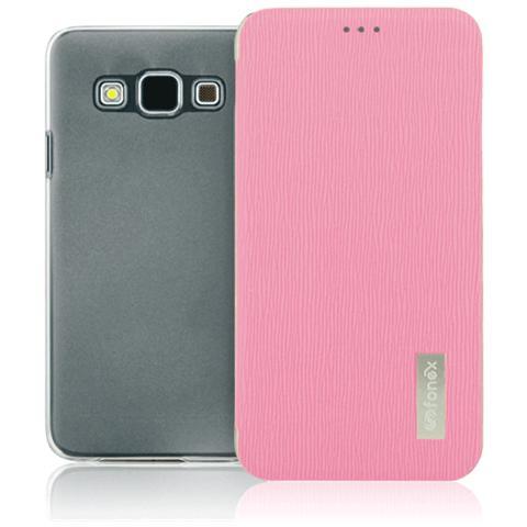 FONEX Crystal Slim Custodia a Libro con Back Trasparente per Galaxy A5 (6) Colore Rosa