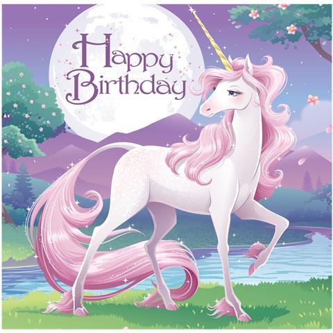 16 Tovaglioli Con Licorno Ed Happy Birthday Taglia Unica