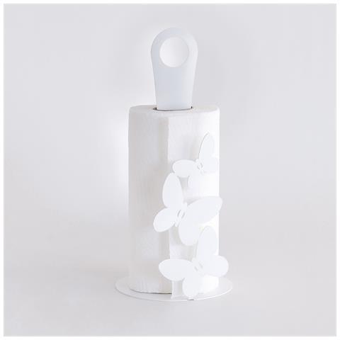 """Porta Rotoli """"farfalle"""" Bianco Dimensione: Diam. 15x33h Materiale: Ferro"""
