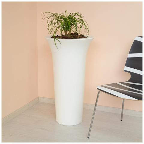 Vaso Flos Bianco Tondo In Resina D. 48xh85cm Arredo Esterno Design Giardino T / 281