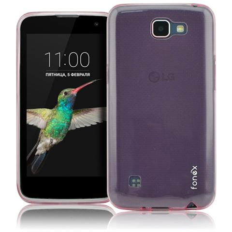 FONEX Inv Cover Ultra Sottile 0,2 mm in Morbido TPU per LG K4 Colore Rosa Trasparente