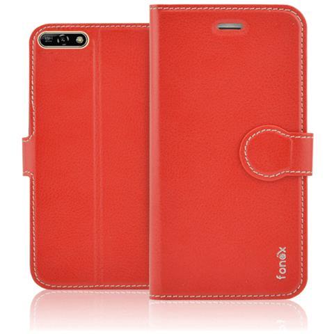 FONEX Identity Book Custodia a Libro per Huawei Y6 2018 Colore Rosso