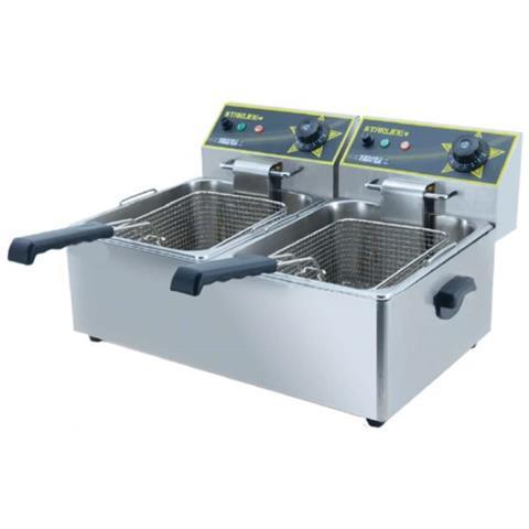Friggitrice Elettrica Professionale 8+8 Litri Cm 54x41x35 Rs9578
