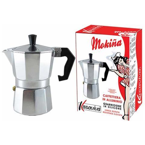 Caffettiera Moka Caffè 2 Tazze Alluminio Grigio Guarnizione Silicone Kasaviva