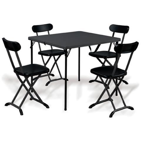 Set Tavolo + 4 Sedie In Acciaio Pieghevole Antracite Salvaspazio Esterno Horeca