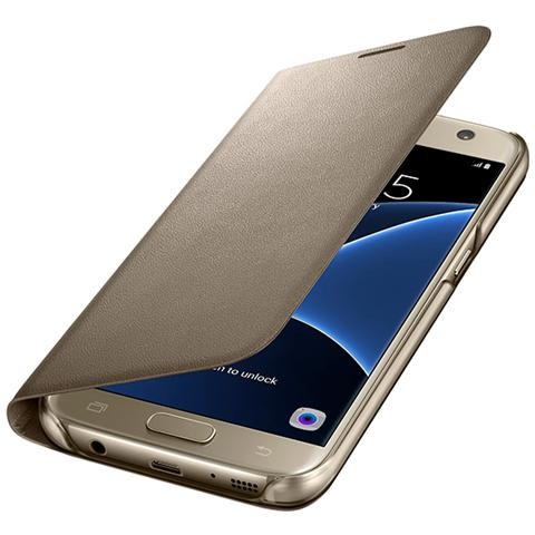 Image of Led view cover gold samsung galaxy s7