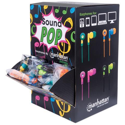 MANHATTAN I-MH-POPS40M - Espositore POP 40 Auricolari con Microfono Multicolor
