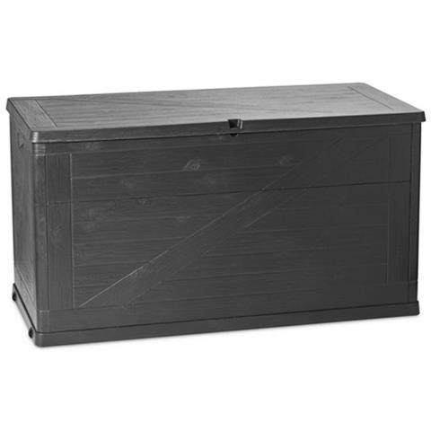 Toomax Wood Line Baule Da Giardino Multiuso In Resina Effetto Simil-legno 120x57xh63 Cm - Antracite