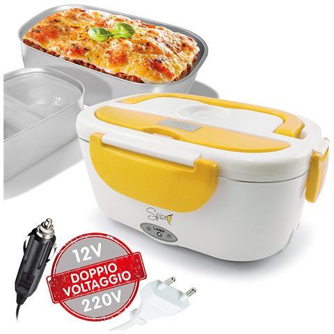 Scaldavivande Portatile Lunch Box Amarillo Inox Plus Doppio Voltaggio Vaschetta 1,5 L Estraibile in Acciaio Inox 40 Watt Coperchio con Guarnizione