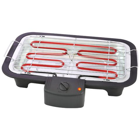 BBQ elettrico da tavolo, Da tavolo, Nero, Rettangolare, Plastica, Cromato