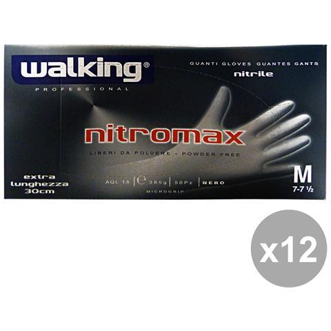 Walking Set 12 Guanti Nitromax Extra Lunghi Neri X 50 Pezzi M - Giardinaggio