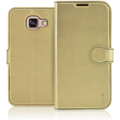 FONEX Identity Book Custodia a Libro per Galaxy A3 (6) Colore Oro