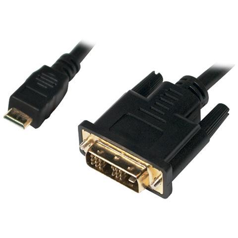 LOGILINK Mini-HDMI - DVI-D M / M 2m, Mini-HDMI, DVI-D, Maschio, Maschio, Oro, Nero