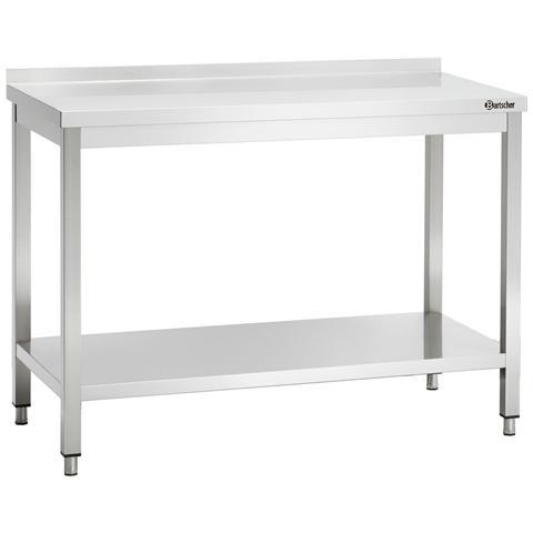 308137 Tavolo da lavoro con alzatina in inox 1300x700x850-900 mm