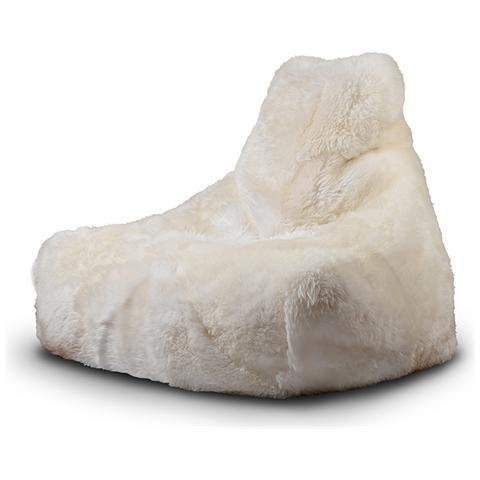 B-BAG Poltrona A Sacco Indoor Mighty-b White In Pelliccia Di Pecora