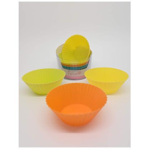 Giannini 24806 Extragourmet Set 12 Pezzi In Silicone Cupcakes-assorted Colori, Multicolore