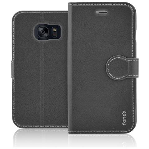FONEX Identity Book Custodia a Libro per Galaxy S6 Edge Colore Nero