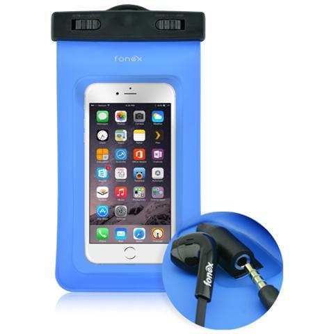 "FONEX Custodia Waterproof Audio per Dispositivi 3""- 6"" con Jack 3,5 mm Colore Blu"
