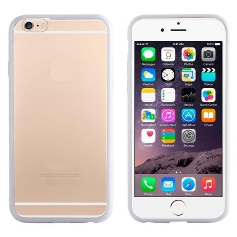 Network Shop Custodia In Tpu Con Bumper Bianco E Plastica Posteriore Clear Per Iphone 6 - 6s