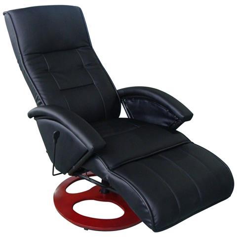 vidaXL Poltrona Relax Massaggio Lusso Isa, Reclinabile, Nera