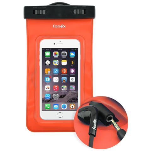 """FONEX Custodia Waterproof Audio per Dispositivi 3""""- 6"""" con Jack 3,5 mm Colore Rosso"""